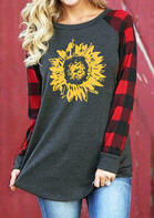 Sunflower Plaid Raglan Sleeve T-Shirt Tee - Dark Grey