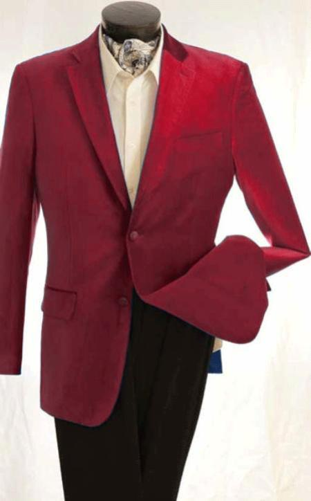 Mens Fashion 2 Button Velvet Winish Burgundy Maroon Jacket