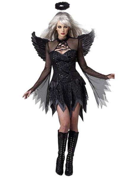 Milanoo Angel Halloween Costumes Black Semi Sheer Women Holidays Costumes