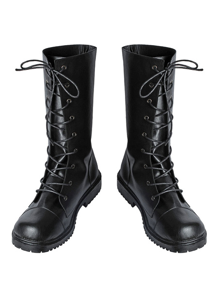 Milanoo Resident Evil Jill Valentine Cosplay Shoes Black Boots
