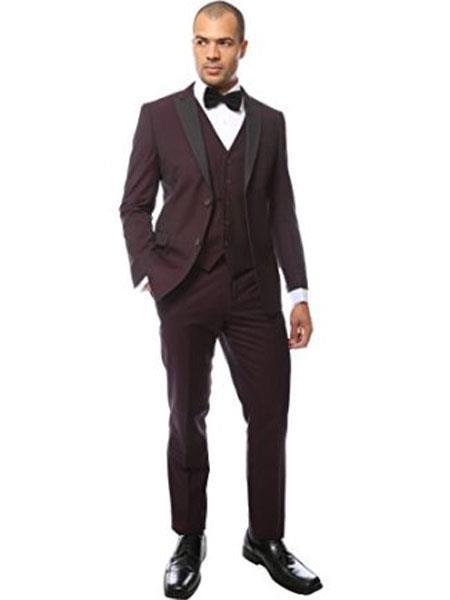 Mens Burgundy Peak Lapel Two Toned Tuxedo Vested Suit