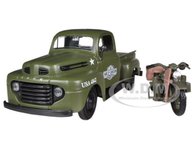 1948 Ford F-1 Pickup Truck and 1942 Harley-Davidson WLA Flathead Motorcycle Flat Green
