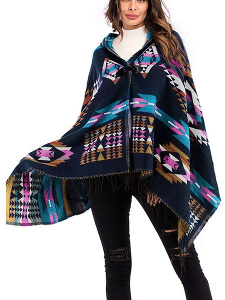 Milanoo Poncho para mujer Capa con estampado geometrico con capucha azul