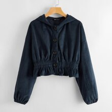 Buttoned Front Ruffle Hem Cord Hooded Jacket