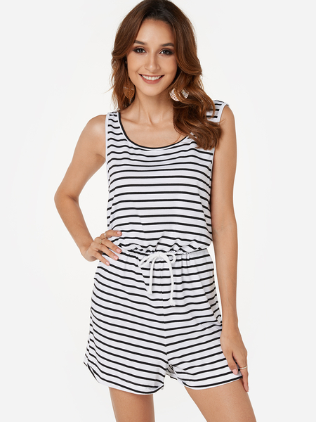 Yoins Sleeveless Stripe Pattern Playsuit with Drawstring Waist