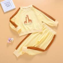 Toddler Girls Cartoon Graphic Sweatshirt & Side Stripe Sweatpants