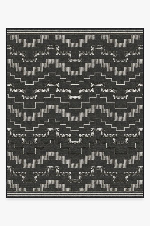 Washable Rug Cover & Pad | Outdoor Meseta Black Rug | Stain-Resistant | Ruggable | 8'x10'