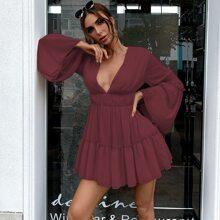 Plunge Neck Bell Sleeve Flippy Hem Dress