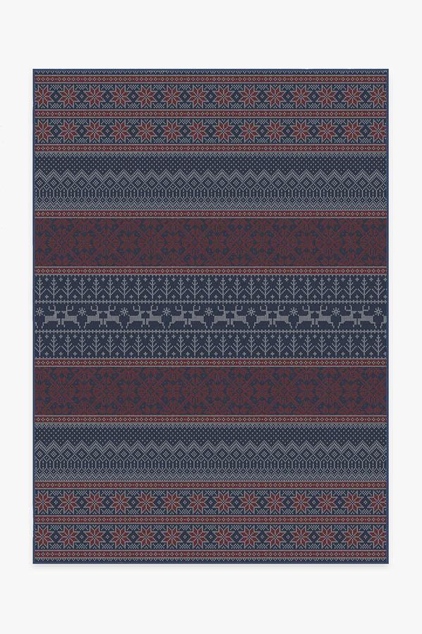 Washable Rug Cover & Pad   Fair Isle Red Rug   Stain-Resistant   Ruggable   5'x7'