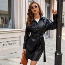 Flap Pocket PU Leather Belted Coat