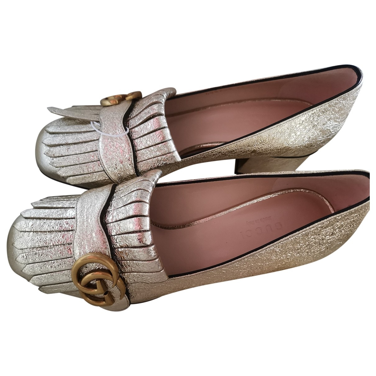 Gucci Marmont Gold Leather Flats for Women 36 EU