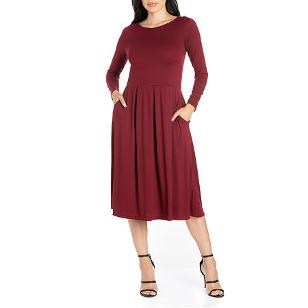 24/7 Comfort Apparel Long Sleeve Midi Fit & Flare Dress, Small , Red