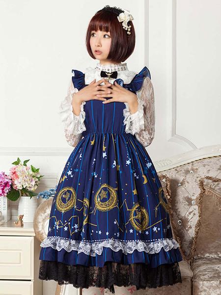 Milanoo Classic Lolita JSK Dress Printed Bows Ruffles Blue  Lolita Jumper Skirts