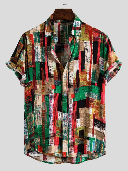 Yoins Men Summer Beach Holiday Color Block All Over Print Bohemian Shirt