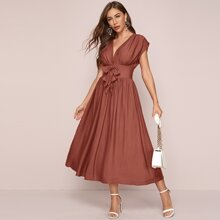 Ruched Bust Knot Wide Waistband Dress