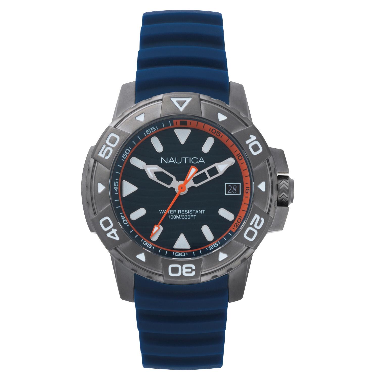 Nautica Men's Edgewater NAPEGT003 Blue Silicone Japanese Quartz Sport Watch