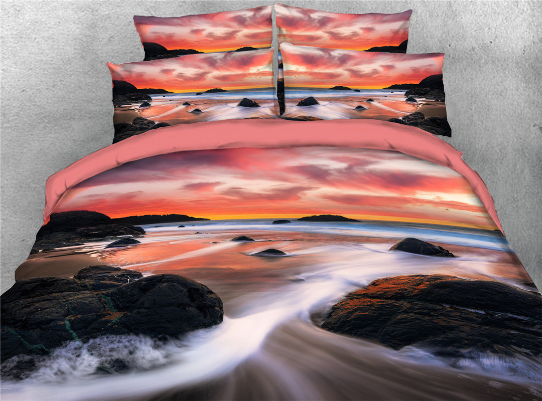 Girlie Landscape Four-Piece Set Machine Wash Duvet Cover Set Reactive Printing Polyester Bedding Sets