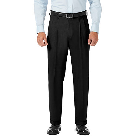 JM Haggar Classic Fit Pleated Dress Pant, 36 34, Black