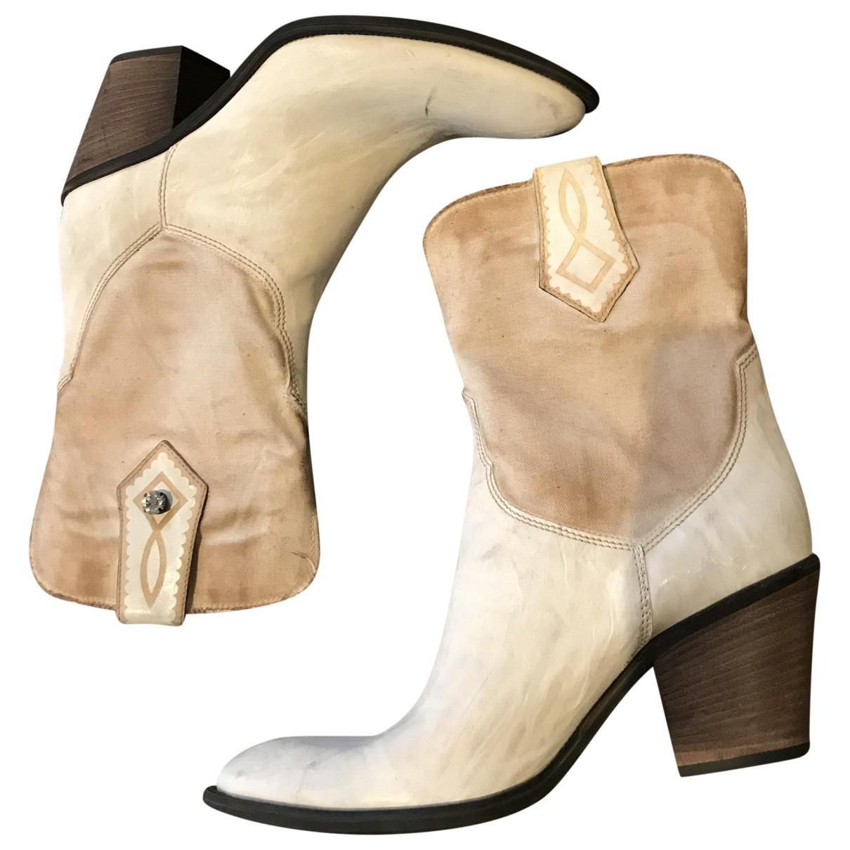 Janet & Janet - Bottes   pour femme en cuir - blanc