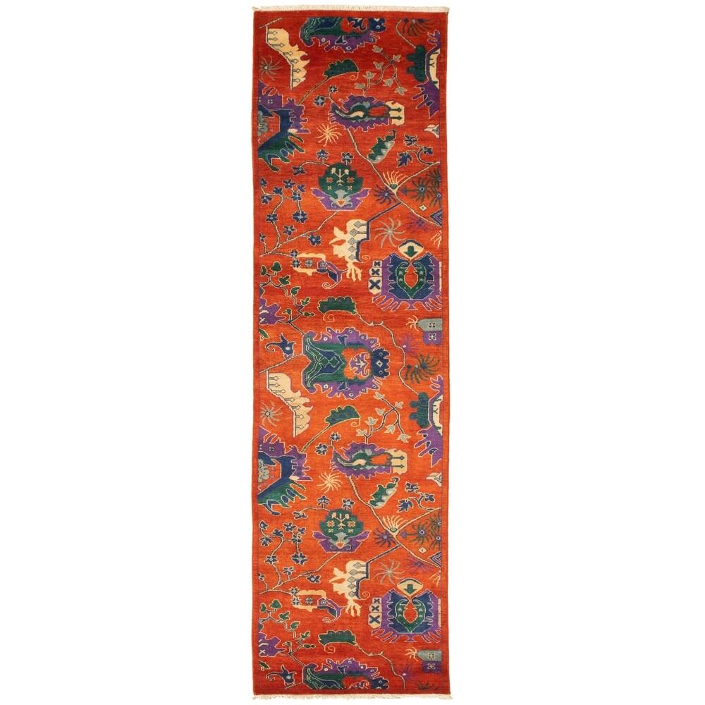 ECARPETGALLERY  Hand-knotted Pak Finest Transitional Copper Wool Rug - 2'7 x 9'10 (2'7 x 9'10 - Dark Copper)