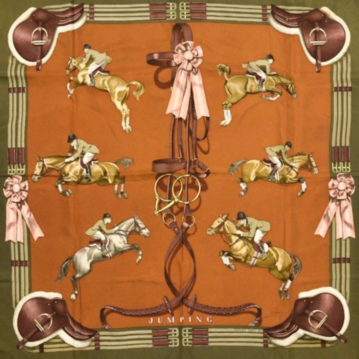 Hermès Carré 90 Khaki Silk Silk handkerchief for Women \N