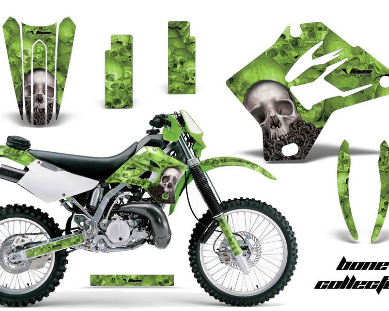 AMR Racing Dirt Bike Graphics Kit Decal Sticker Wrap For Kawasaki KDX200 1995-2006 BONES GREEN