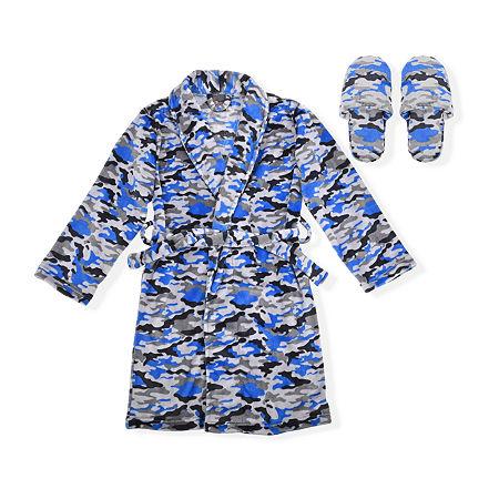 Sleep On It Big Boys Microfleece Long Sleeve Knee Length Robe, 6-7 (s) , Blue