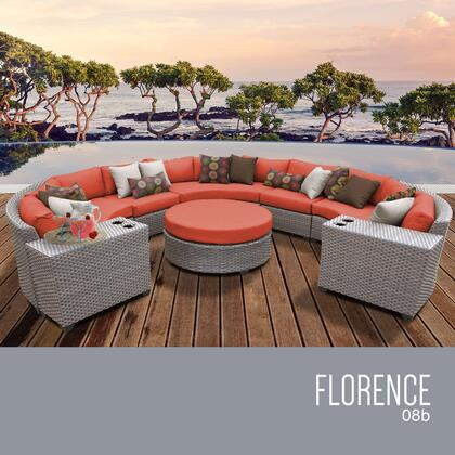 FLORENCE-08b-TANGERINE Florence 8 Piece Outdoor Wicker Patio Furniture Set 08b with 2 Covers: Grey and