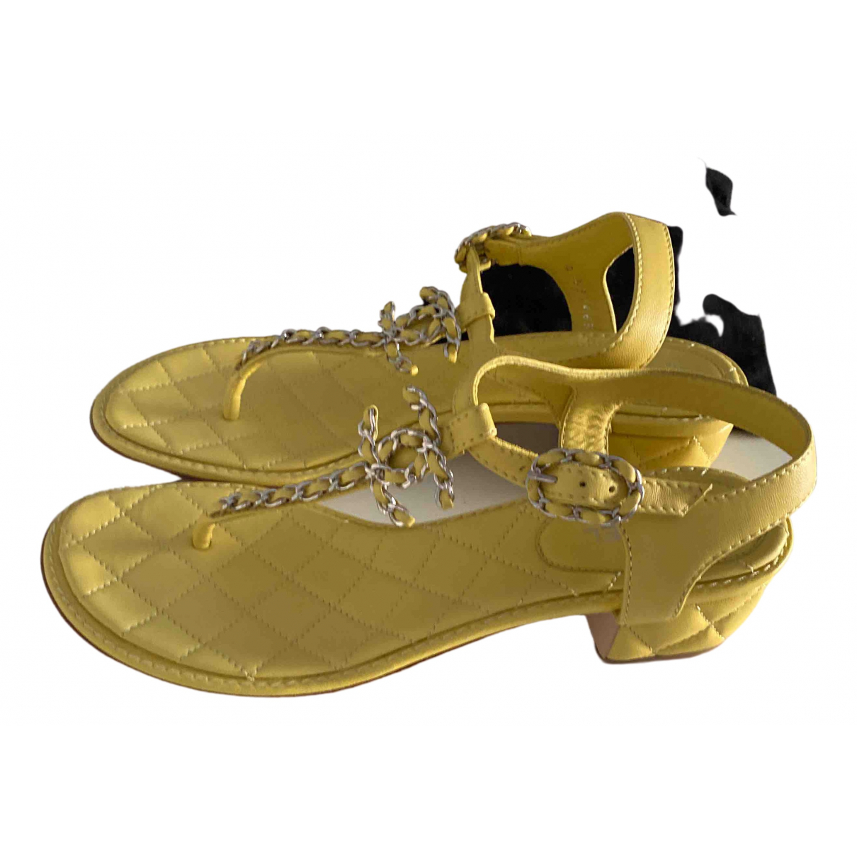 Chanel \N Yellow Leather Sandals for Women 37.5 EU
