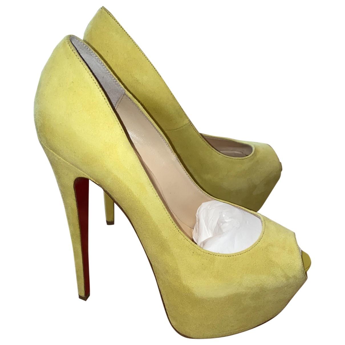 Christian Louboutin - Escarpins Daffodile  pour femme en suede - jaune