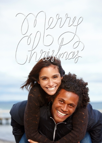 Christmas Photo Cards Flat Glossy Photo Paper Cards with Envelopes, 5x7, Card & Stationery -Merry Christmas Cursive