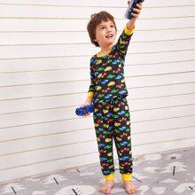 Toddler Boys Allover Car Print Pajama Set