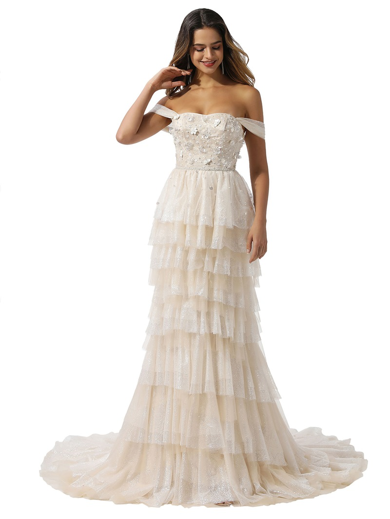 Ericdress Sheath Sleeveless Court Off-The-Shoulder Wedding Dress 2020