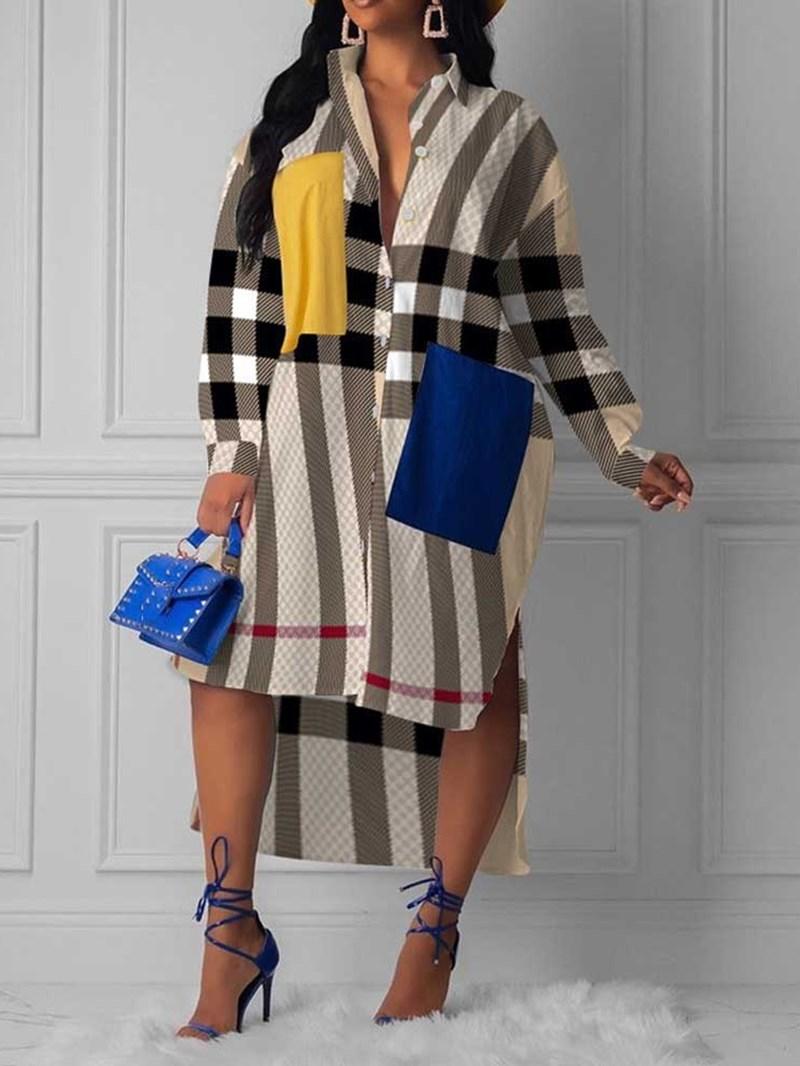 Ericdress Mid-Calf Lapel Long Sleeve Western Single-Breasted Dress