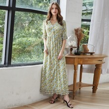 Allover Floral Frill Trim Dress