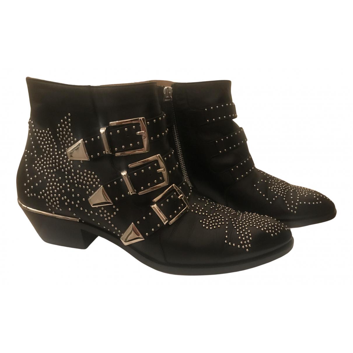 Chloé Susanna Black Leather Ankle boots for Women 39 EU
