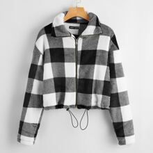 Buffalo Plaid Drawstring Hem Flannel Jacket