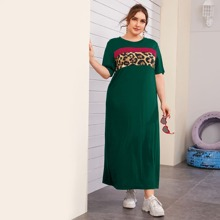 Plus Leopard Print Color Block Dress