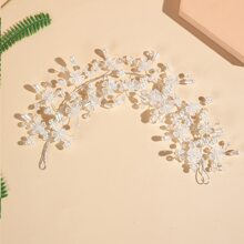 Faux Pearl & Flower Decor Hair Accessory