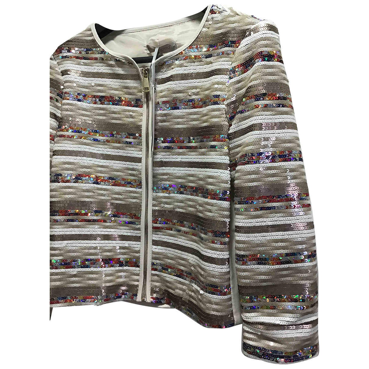 Non Signé / Unsigned N Beige Glitter jacket for Women 32 FR