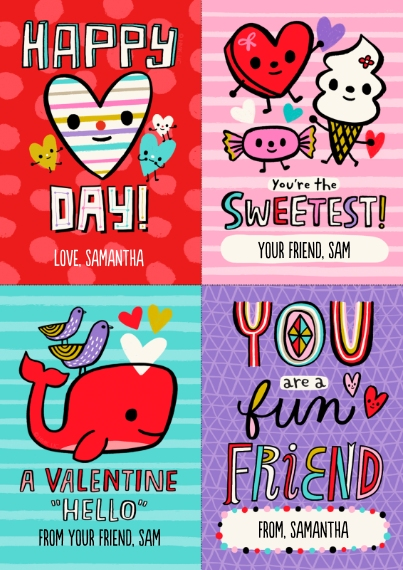 Valentine's Cards 5x7 Cards, Premium Cardstock 120lb with Scalloped Corners, Card & Stationery -Fun Lettering & Icons Cut-Apart by Hallmark