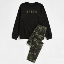 Guys Letter Graphic Pullover & Drawstring Waist Camo Pants Set