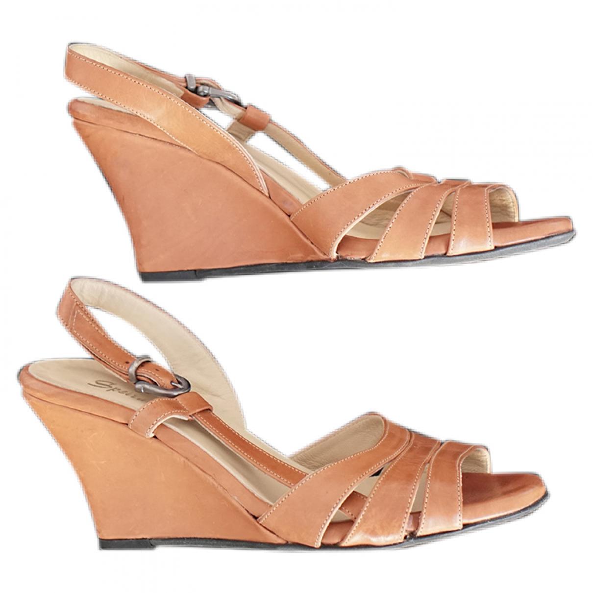 - Sandales   pour femme en cuir - camel
