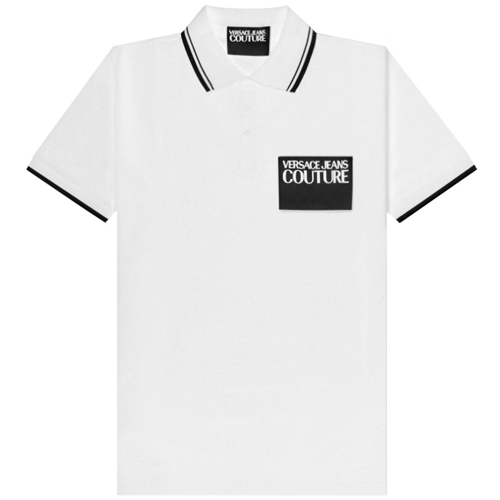Versace Jeans Couture Patch Logo Polo Colour: WHITE, Size: SMALL