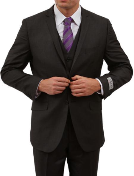 2 Button Solid Black Front Closure Side Vent Suit Mens Cheap