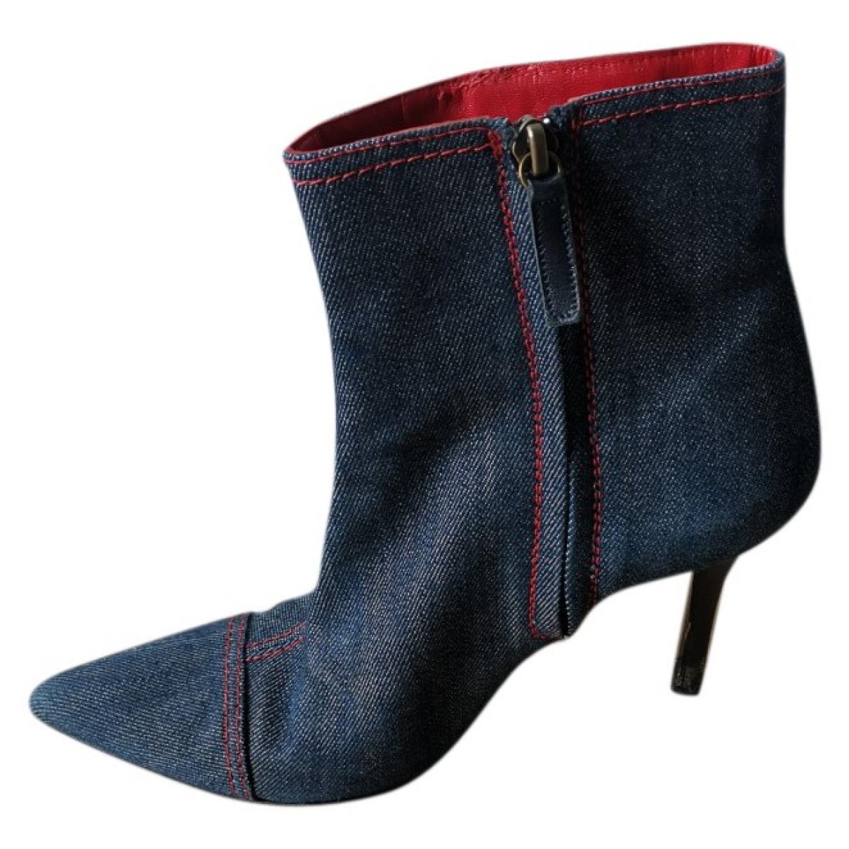 Celine - Boots   pour femme en toile - bleu