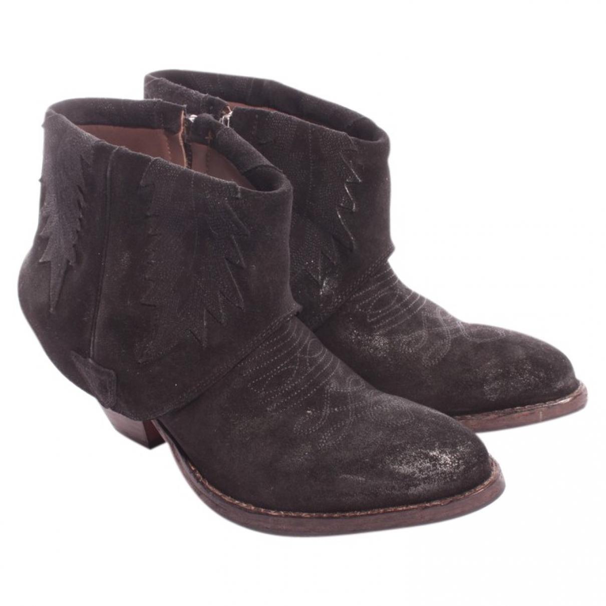 Htc - Boots   pour femme en suede - noir