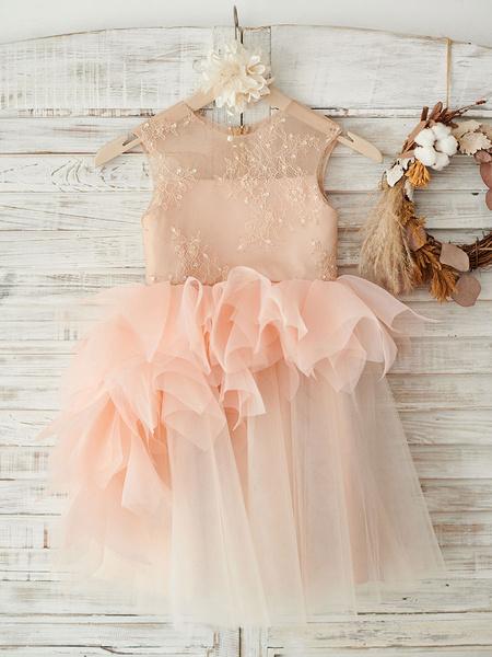 Milanoo Flower Girl Dresses Salmon Jewel Neck Short Sleeves Beaded Kids Party Dresses