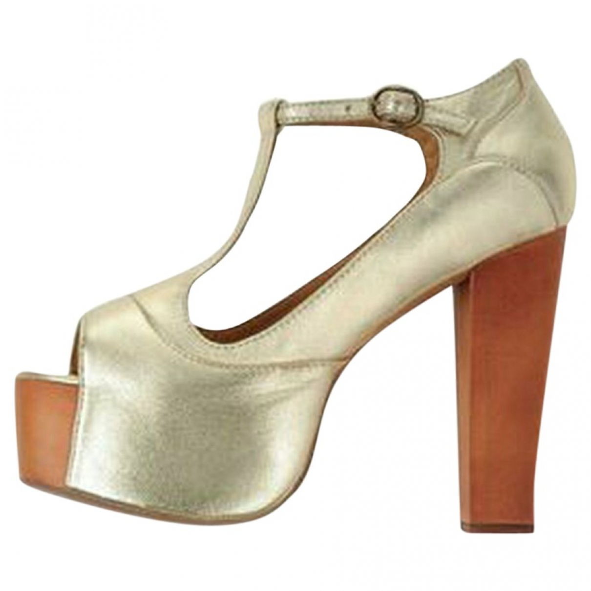 Jeffrey Campbell \N Gold Leather Heels for Women 38 EU