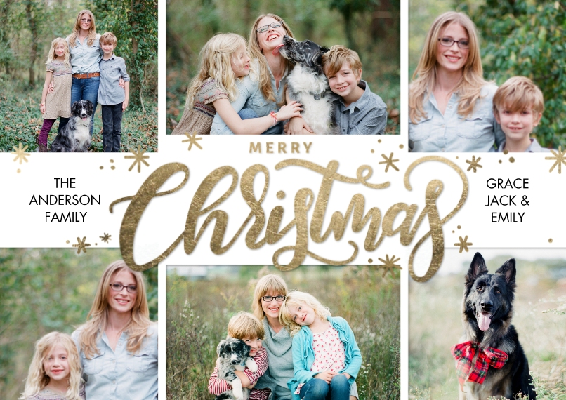 Christmas Photo Cards 5x7 Cards, Premium Cardstock 120lb, Card & Stationery -Christmas Gold Stars Script by Tumbalina